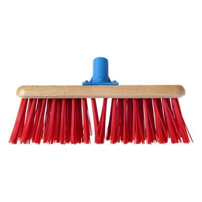 Huismerk Bezem met rode kunstvezel 28 cm
