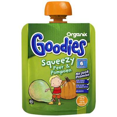 Organix Goodies Squeezy Peer & Pompoen 6 mnd