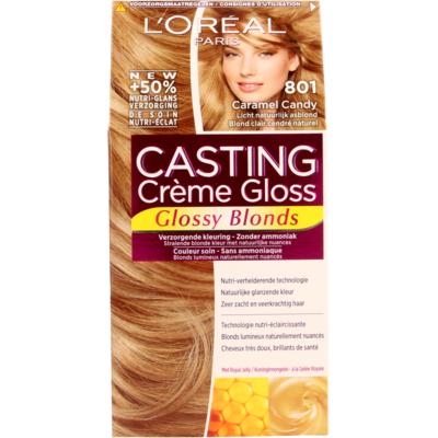 L'Oréal Cast. Crème Gl. 801 CaramelCandy/Licht Natu. Asblond