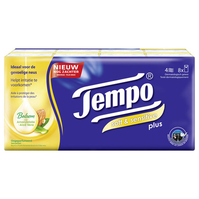 Tempo Plus soft & sensitive 4-laags zakdoeken