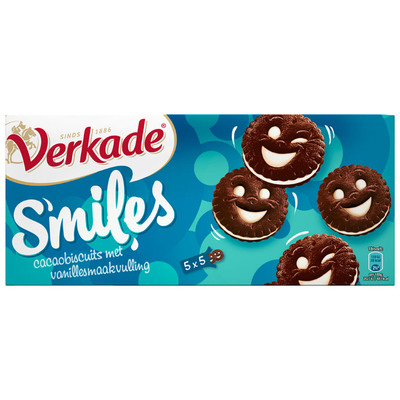 Verkade Smiles cacaobiscuits met vanillesmaak