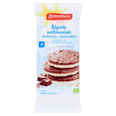Zonnatura Belgische Melkchocolade Volkoren Rijstwafels 6 Stuks 100 g
