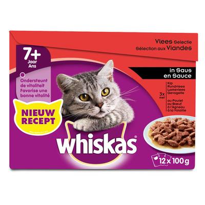 Whiskas Senior vlees selectie in saus