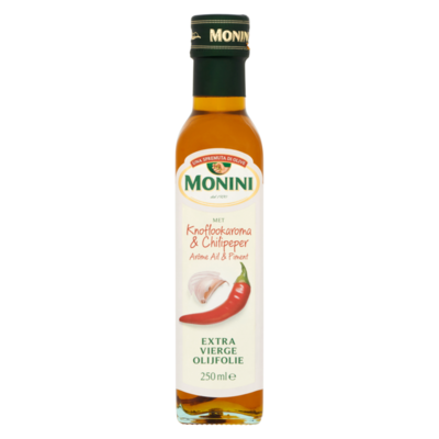 Monini Extra Vierge Olijfolie met Knoflookaroma & Chilipeper