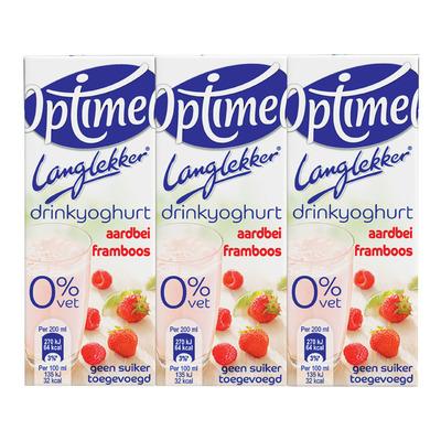 Optimel Langlekker drinkyoghurt aardbei-framboos