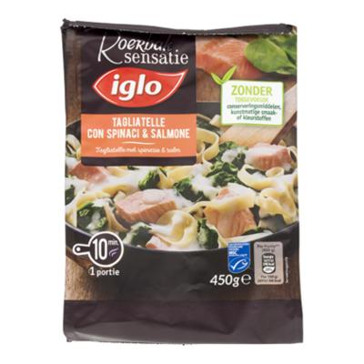 Iglo Roerbak tagliatelle met zalm spinazie