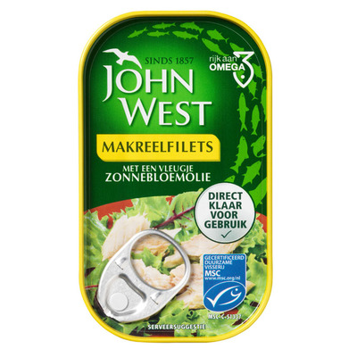 John West Makreelfilet in zonnebloemolie MSC