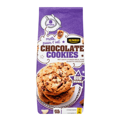 Jumbo Chocolate Cookies Melk, Puur & Wit Big Chunks 8 Stuks