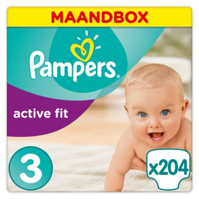 Pampers nr. 3 maandbox active fit midi 204 stuks
