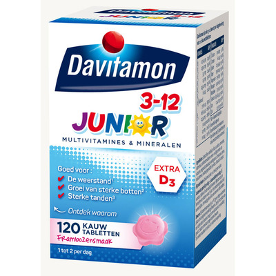 Davitamon Junior multivitamines framboos 3-12 jaar