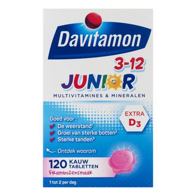 Davitamon Junior multivitamines framboos 3-12 jaar