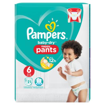 Pampers Baby-Dry Pants S6, x21, Luchtdoorlatende Banen