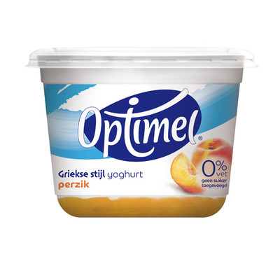 Optimel Griekse stijl yoghurt 0% vet perzik