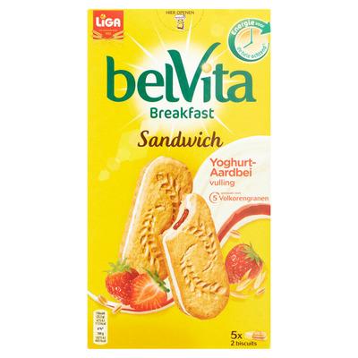 Liga Belvita biscuit sandwich yoghurt aardbei