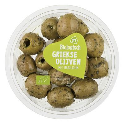 Huismerk Biologisch Griekse groene olijven met basilicum