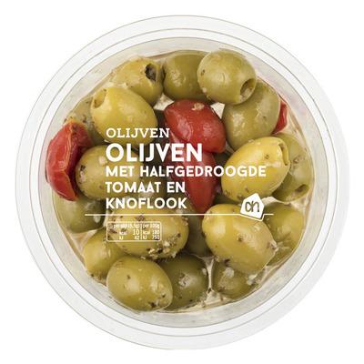 Huismerk Groene olijven met gedroogde tomaat