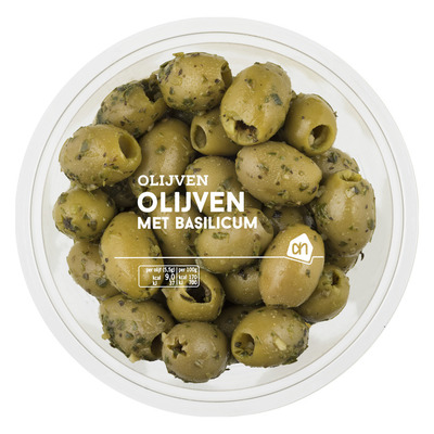 Huismerk Groene olijven met basilicum