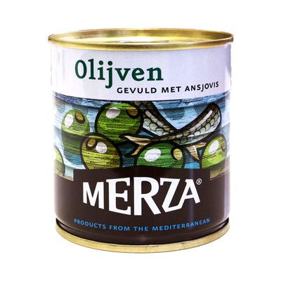 Merza Groene olijven gevuld met ansjovis
