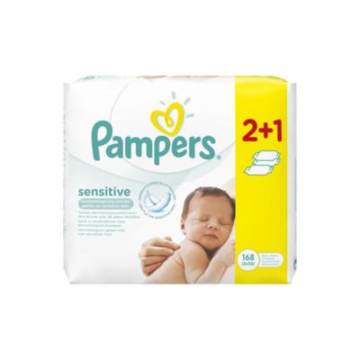 Pampers Sensitive Babydoekjes 3 Verpakkingen 168 Doekjes