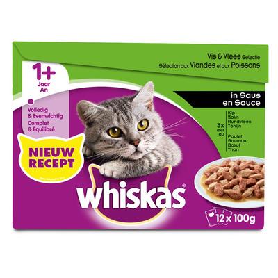Whiskas Adult vlees en vis selectie in saus