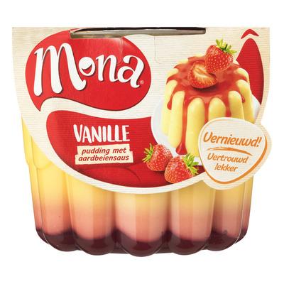 Mona Vanillepudding met aardbeiensaus