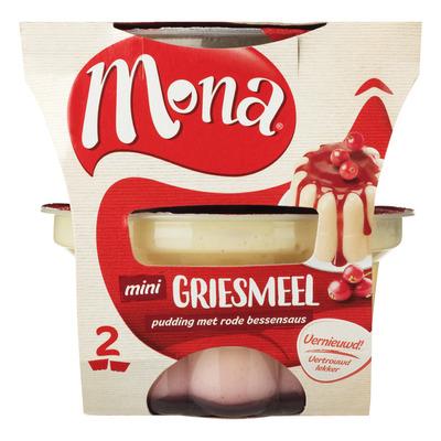 Mona Pudding griesmeel rode bessensaus duo
