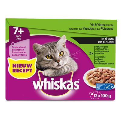Whiskas Senior vlees en vis selectie in saus