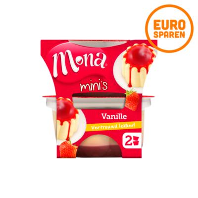 Mona Mini Vanille Pudding met Aardbeiensaus