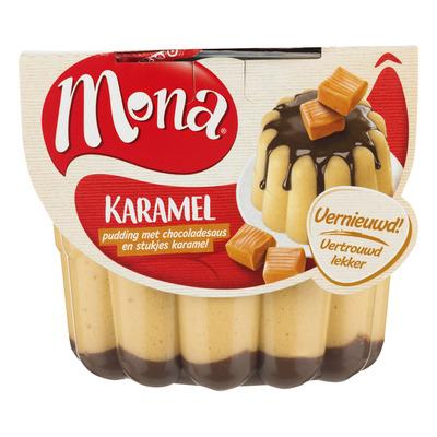 Mona Pudding karamel met chocoladesaus