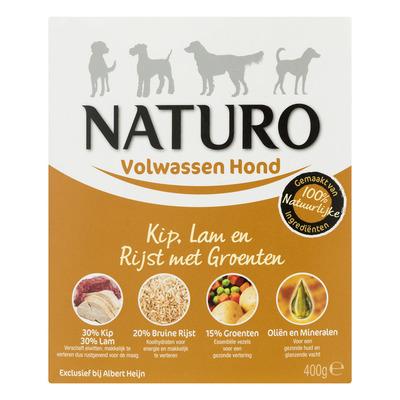 Naturo Kip, lam en rijst voor de hond