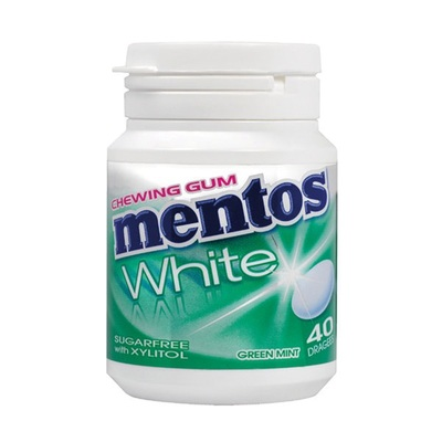 Mentos Kauwgom Gum White Green Mint, Pot 40 Gums