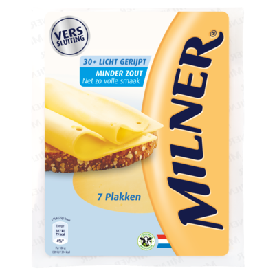 Milner Minder Zout 30+ Kaas 7 Plakken 175 g