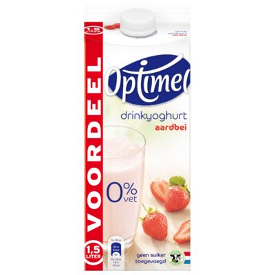 Optimel Drink voordeelverpakking aardbei 0% vet