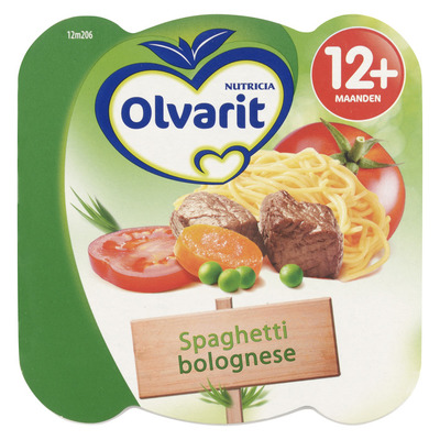 Olvarit Peutermenu spaghetti bolognese 12+ mnd