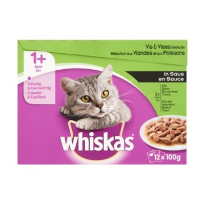 Whiskas Multipak vlees vis saus 1+ 12-pak