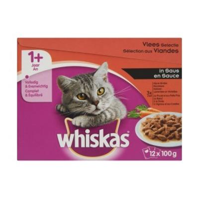 Whiskas Multipak vlees in saus 1+ 12-pak