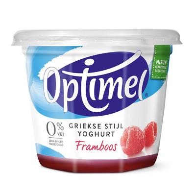 Optimel Magere Griekse stijl yoghurt framboos