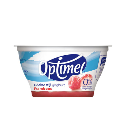 Optimel Griekse stijl yoghurt 0% vet framboos