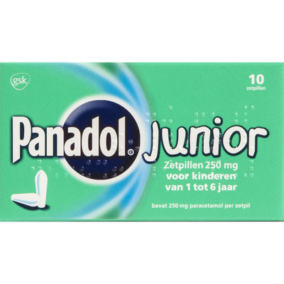Panadol Junior zetpillen 250 mg