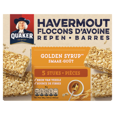 Quaker Havermout Repen Granenreep Golden Syrup Smaak 5x35g