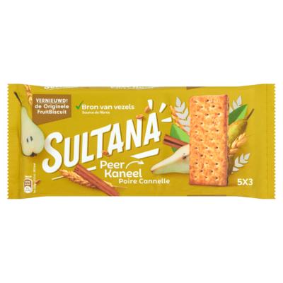 Sultana FruitBiscuit Peer-Kaneel 5 x 3 Stuks 218 g