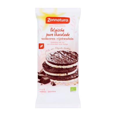 Zonnatura Belgische Pure Chocolade Volkoren Rijstwafels 6 Stuks