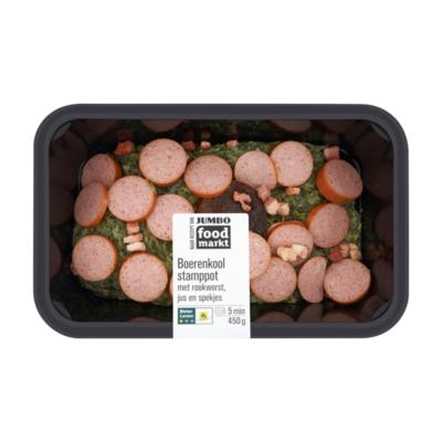 Huismerk Food Markt Boerenkool Stamppot met Rookworst, Jus en Spekjes