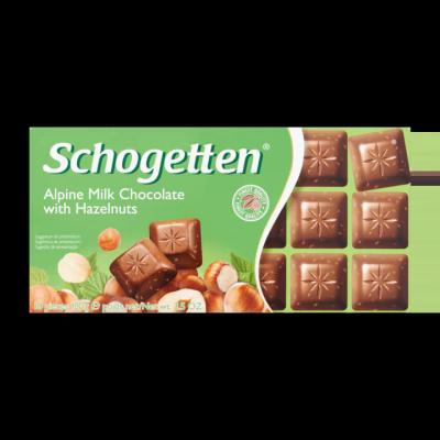 Schogetten Alpine Milk Chocolate with Hazelnuts 18 Stuks