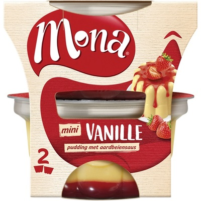 Mona Vanillepudding Aardbeiensaus