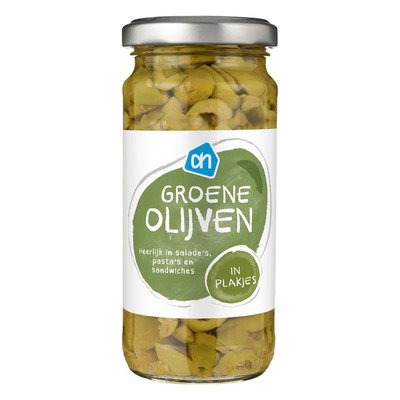 Huismerk Groene olijven in plakjes