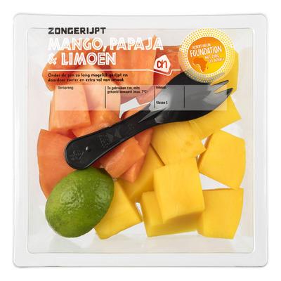 Huismerk Zongerijpte mango-papaja-limoen