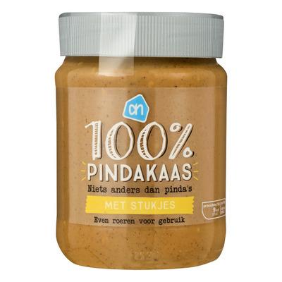 Huismerk 100% pindakaas met stukjes pinda