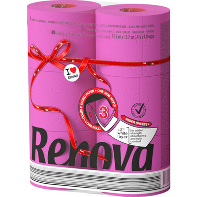 Renova Toiletpapier fuchsia 3-laags