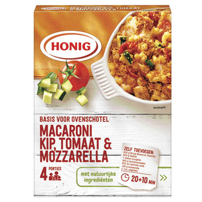 Honig Macaroni ovenschotel kip mozzarella tom.